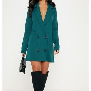 Pretty Little Thing emerald green blazer dress